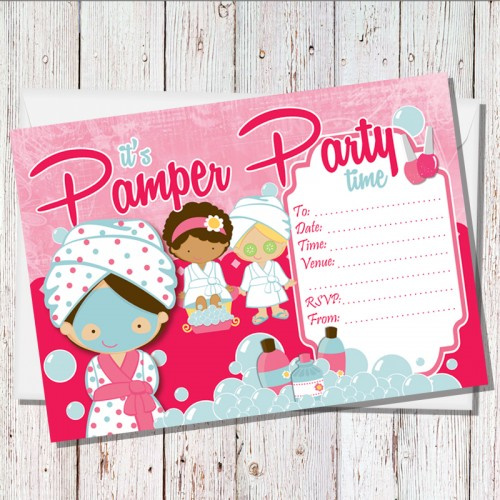 Pamper Party Handwritten Invitations Pack Of 15